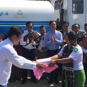 ချင်းပြည်နယ် နှာဟရိန်မြို့အတွက် ကမ္ဘောဇ အနာဂတ်အလင်းတန်းမြန်မာ ဖောင်ဒေးရှင်းမှ ရေသယ်ယာဉ်အသစ် ပေးအပ်လှူဒါန်း။